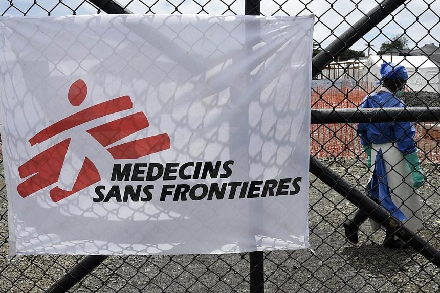 The entrance of the Ebola treatment centre of aid agency Doctors Without Borders, known by its French initials MSF (Medecins Sans Frontieres) on Oct 3, 2014 where NBC cameraman Ashoka Mukpo, who had been infected with the Ebola virus is being treated