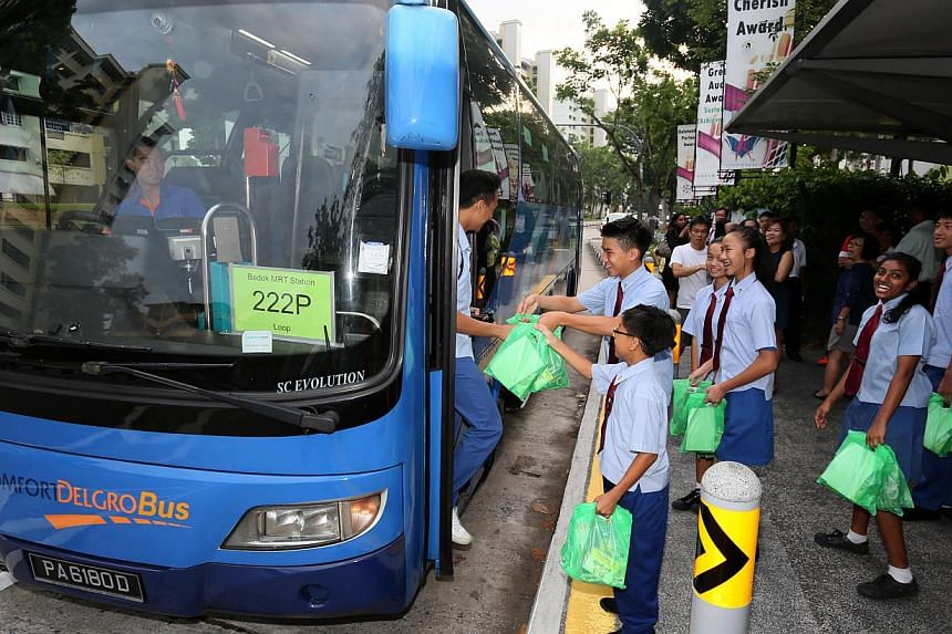 Bus Service 222P, which is run by ComfortDelGro Bus under the Bus Service Enhancement Programme. Four hundred and fifty government-funded buses have been put on the road as of last month under the programme, up from 361 buses at end-June. -- PHOTO: L