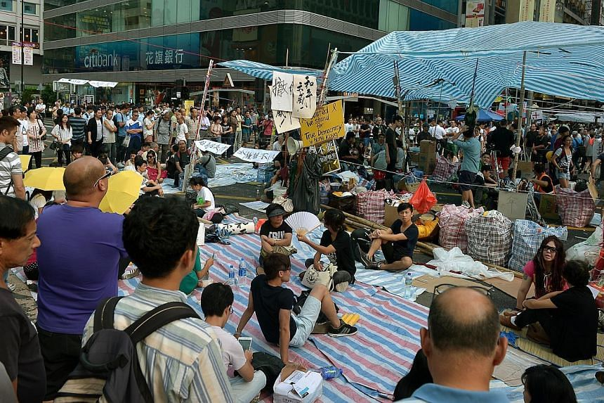 A protest site in Mong Kok, where numbers have dwindled over the last few days.-- ST PHOTO:KUA CHEE SIONG