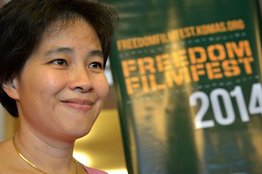 "Director Tan Pin Pin at the screening of her film To Singapore With Love, at the Freedom Film Fest in Johor Baru on Sept 19, 2014. Allowing the public screening of a film that gives false, ""one-sided portrayals"" of political exiles - some of who"