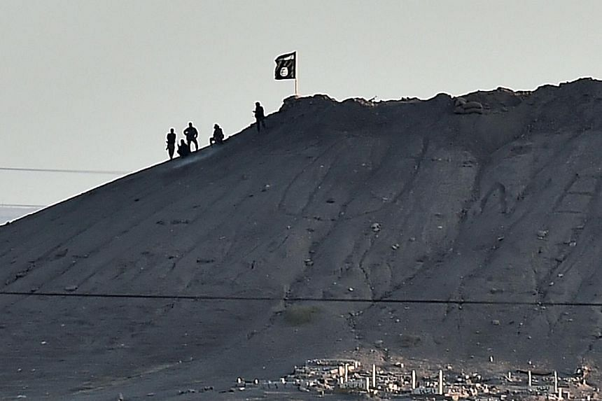 Alleged Islamic State (IS) militants stand next to an IS flag atop a hill in the Syrian town of Ain al-Arab, known as Kobane by the Kurds, as seen from the Turkish-Syrian border in the south-eastern town of Suruc, Sanliurfa province, on Oct 6, 2014.&
