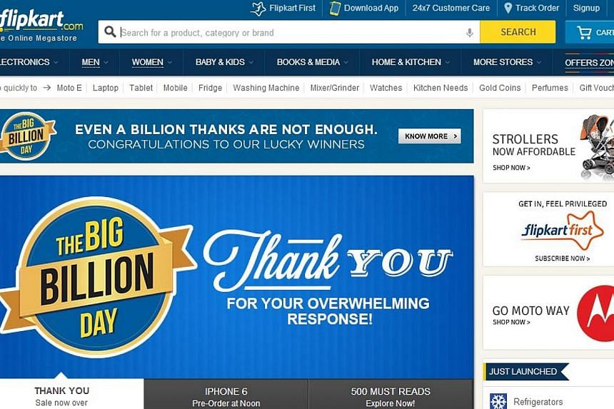 Flipkart launched its Big Billion Day Sale online on Monday. It was touted as the biggest sale in India. -- PHOTO: SCREENGRAB FROM FLIPKART.COM