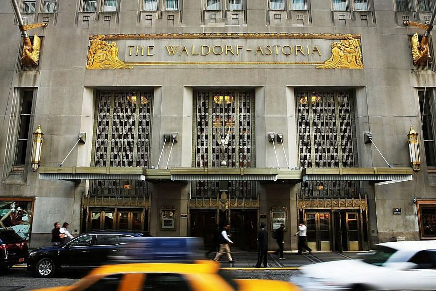 Landmark New York hotel The Waldorf Astoria on Oct 6, 2014, in New York City. -- PHOTO: AFP