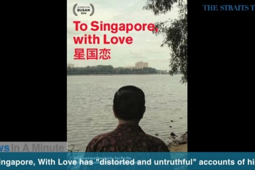"""In today's News In A Minute, we look at Minister for Communications and Information Yaacob Ibrahim saying that the film To Singapore, With Love gives false """"one-sided portrayals"""" of political exiles.-- SCREENGRAB FROM RAZORTV VIDEO"""