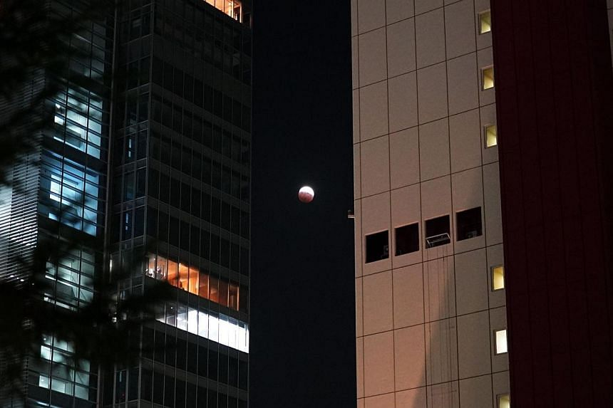 A lunar eclipse is seen between two buildings in Tokyo, on Oct 8, 2014. -- PHOTO: AFP