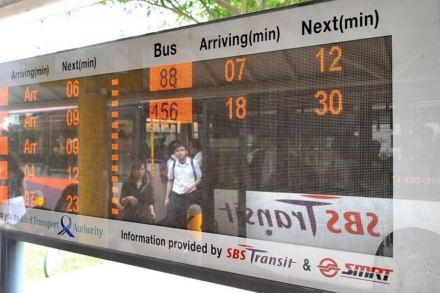 Real-Time Bus Arrival Information panel at a bus-stop.The Land Transport Authority (LTA) is developing a system that will relay real-time information between buses and bus stops, so commuters can get more information while they are travelling.