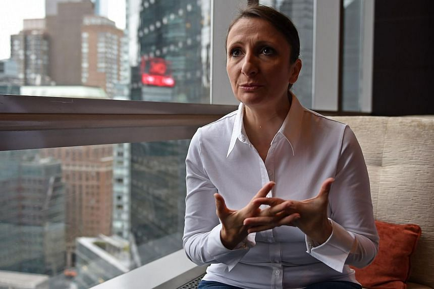 French chef Anne-Sophie Pic during an interview on Oct 2, 2014 in New York. Pic, one of top five women chefs in the world, is gearing up to take on the fickle, competitive world of New York gastronomy in opening a new restaurant next year. -- PHOTO: