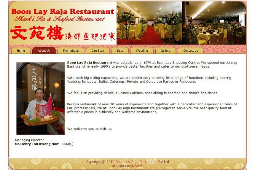 The sun is setting on a popular Chinese restaurant in the west, with its owners looking to retire and sell the shop space for at least $15 million.-- PHOTO: BOON LAY RAJA RESTAURANT WEBSITE