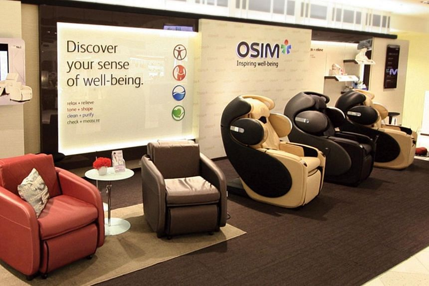 Massage chair maker Osim International has no idea why its share price could have tumbled so much for two days straight, it told the Singapore Exchange on Wednesday afternoon. -- PHOTO: OSIM