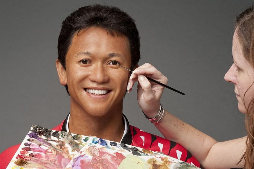 A behind-the-scenes look at how the wax figure of local footballing legend Fandi Ahmad was created by Madame Tussauds' team of studio artists. -- PHOTO: MADAME TUSSAUDS SINGAPORE