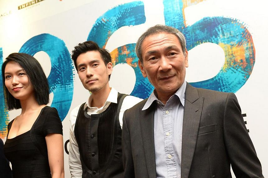 The cast of 1965 include (from left) actress Joanne Peh, who will play a coffee shop owner, actors James Seah and Lim Kay Tong. -- ST PHOTO: JAMIE KOH