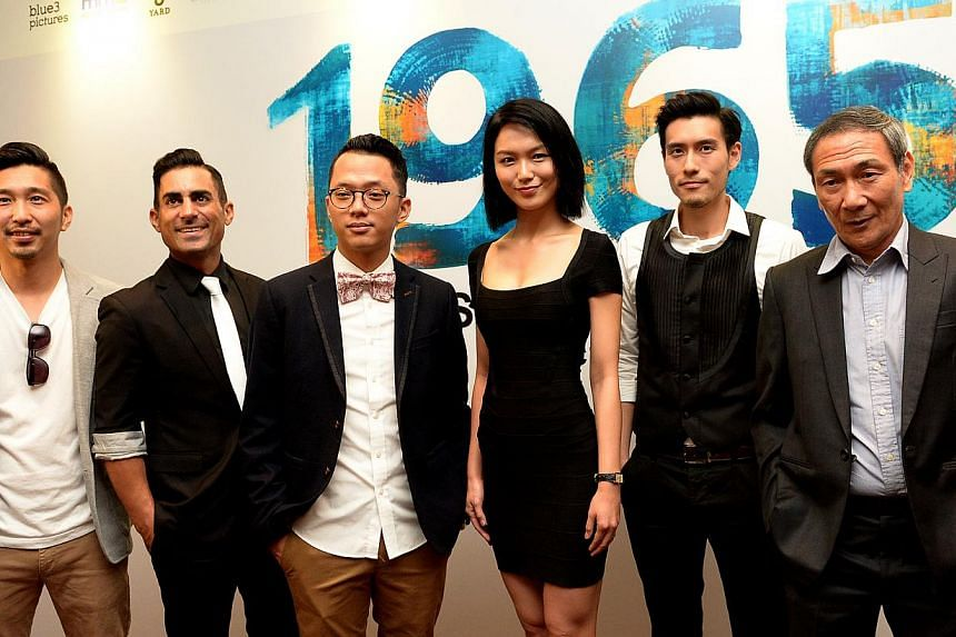 (From left)  Director Randy Ang, DJ-turned-actor Mike Kasem, singer Sezairi Sezali, actress Joanne Peh, actor James Seah and actor Lim Kay Tong at the press conference for the film 1965. -- ST PHOTO: JAMIE KOH