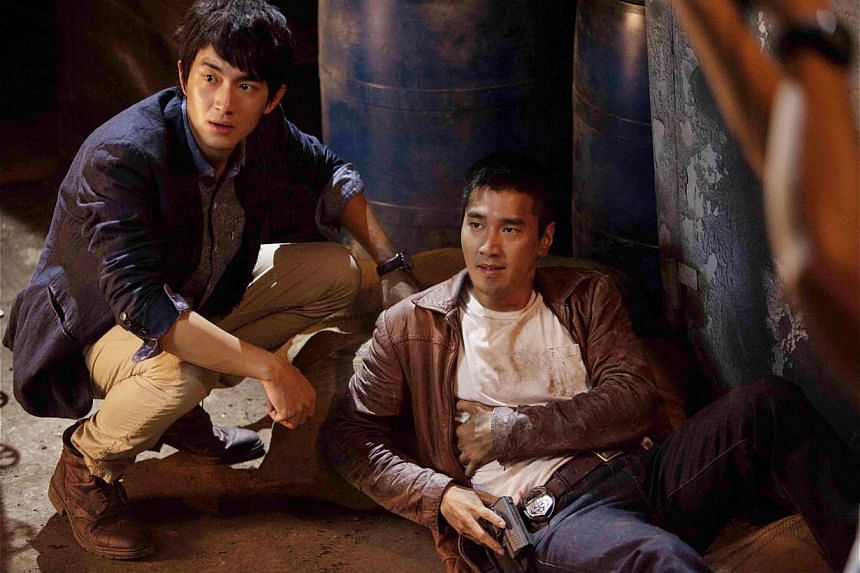 Mark Chao (right) as Hero with Lin Gengxin, his sidekick, in Black & White: The Dawn Of Justice. -- PHOTO: GOLDEN VILLAGE PICTURES