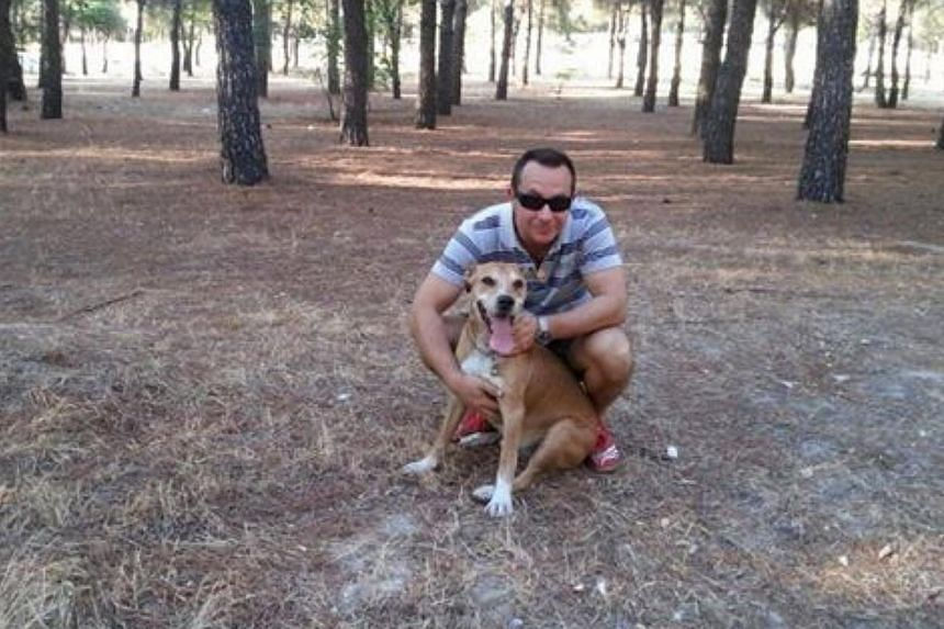 The husband, Javier Limon (above), who has been placed in quarantine, contacted local media to object to the decision by Madrid's department of health to put down the dog Excalibur. -- PHOTO: FACEBOOK PAGE OF VILLA PEPA PROTECTIVE ASSOCIATION