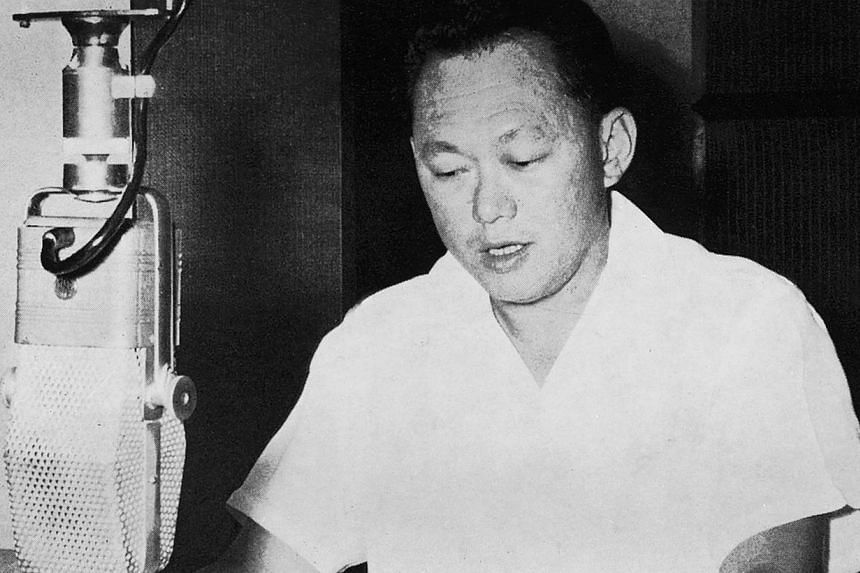 Prime Minister Lee Kuan Yew at the microphone at Radio Singapore. -- PHOTO: ST PRESS