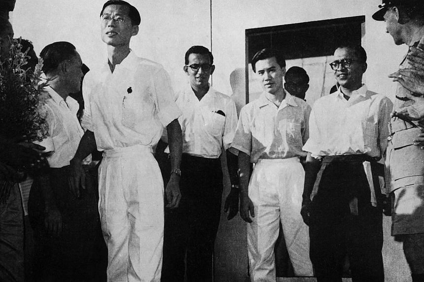 (From left) Fong Swee Suan, S. Woodhull, Lim Chin Siong and C. V. Devan Nair are released from Changi Prison on June 4, 1959, five days after the election victoriy of the PAP. The PAP had announced in accordance with their election pledge that they w