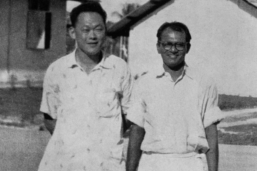 Lee Kuan Yew visiting James Puthucheary in the Prison Camp grounds during one of his frequent visits to the detainees closely associated with the leadership of the PAP. This picture was taken in February 1959 by the Changi Camp Commandant, Supt D. S.