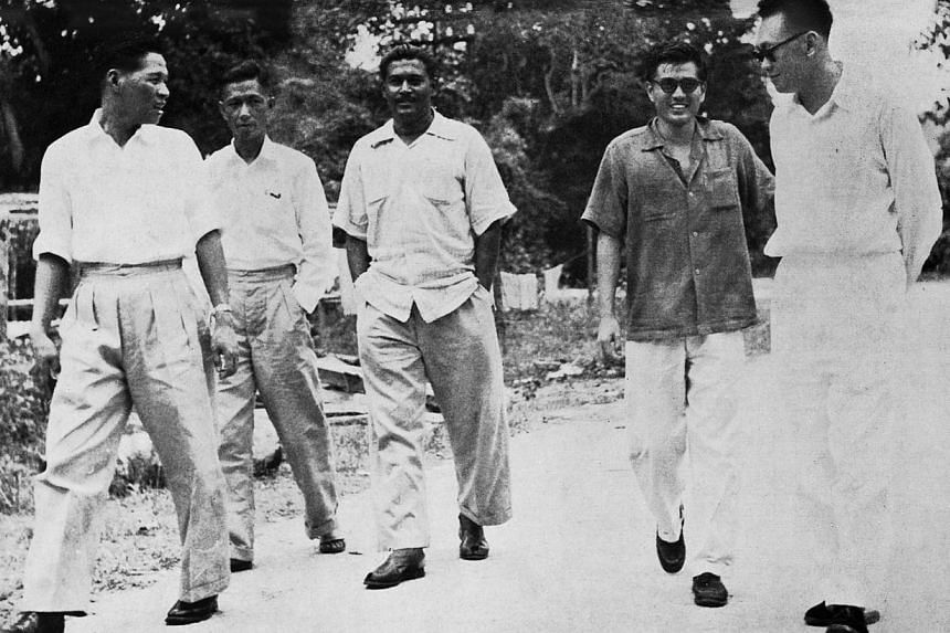 (From right) Lee Kuan Yew meeting Kwa Boo San and some committee members of the National Transport Workers Union of the Federation at Taiping Botanic Gardens in October 1956. Mr Lee had gone up to Perak to defend members of the union at a trial in Ba