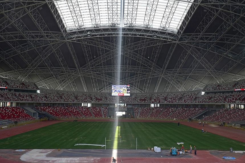 Sunlight peeking through the thin retractable dome of the new National Stadium.The Football Association of Singapore (FAS) has given the National Stadium pitch the green light for next Tuesday's Japan-Brazil friendly although the turf is still