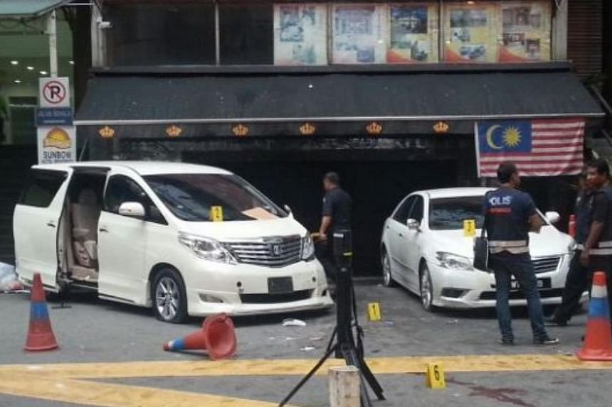 Gangland fighting is believed to be behind a bomb blast at Sun Complex in Jalan Bukit Bintang on Thursday. -- PHOTO: THE STAR/ASIA NEWS NETWORK
