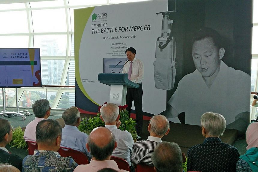 """The reprint of """"The Battle for Merger"""", a compilation of speeches made by Mr Lee Kuan Yew in 1961, aims to """"provide a reality check"""" to recent attempts by historians to recast the role played by communists and their supporters on the issue, D"""
