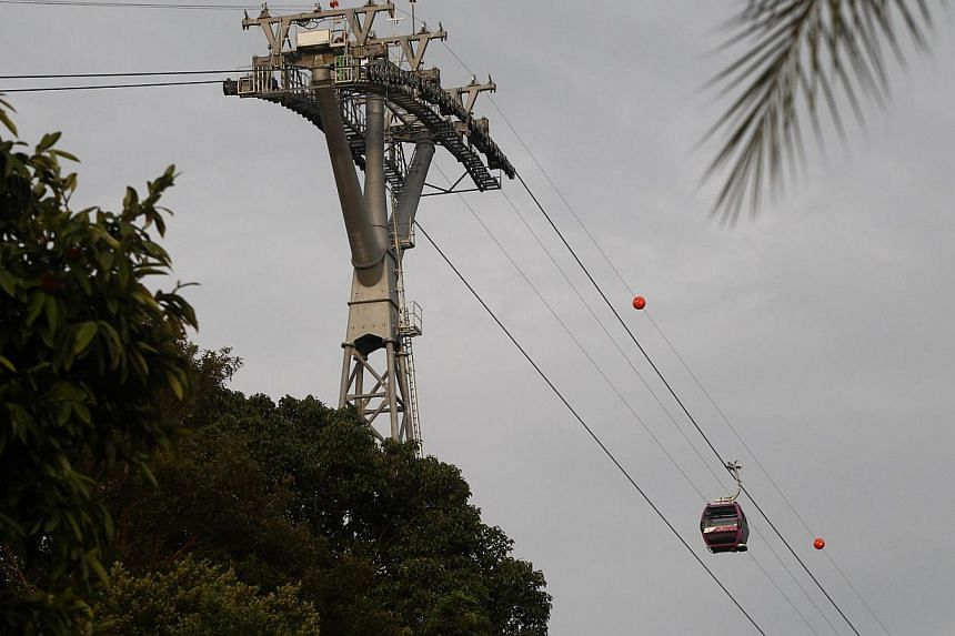 A technical supervisor was suspended in a cable car mid-air while the contractor was carrying out further installation work at Sentosa's new intra-island cableway. Work on the cableway in Sentosa has been allowed to resume following an August inciden