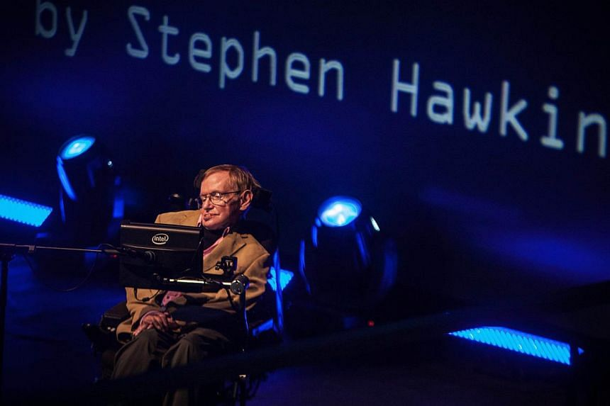 British theoretical physicist professor Stephen Hawking gives a lecture during the Starmus Festival on the Spanish Canary island of Tenerife on Sept 23, 2014. Hawking will feature on Pink Floyd's first studio album in two decades.-- PHOTO