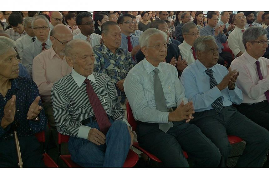 At the book launch were PAP pioneers (from left) Othman Wok, Lee Koon Choy and Ch'ng Jit Koon together with former president S. R. Nathan and Minister for Communications and Information Yaacob Ibrahim. Behind Mr Ch'ng is former PAP MP Lawrence Sia, M
