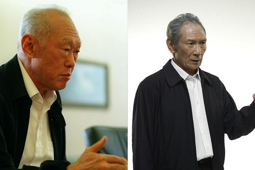 Singapore's first prime minister Lee Kuan Yew (left) in 1995, and veteran Singaporean actor Lim Kay Tong at an imaging session, with make-up and an outfit that is similar to what Mr Lee frequently wears. --PHOTOS: ST FILE,BLUE3 PICTURES