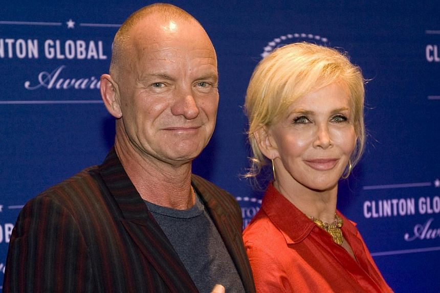 Musician Sting and wife Trudy Styler attend the 8th Annual Clinton Global Citizen Awards ceremony in New York Sept 21, 2014. Sting isamong the 2015 nominees announced on Thursday for induction into the Rock and Roll Hall of Fame.--
