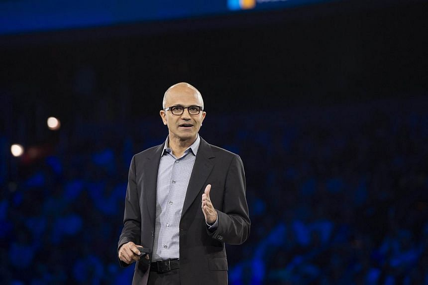 Microsoft's chief executive officer Satya Nadella suggested on Thursday that women in technology should not ask for raises but have faith in the system. -- PHOTO: AFP