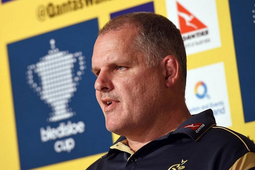 Australian rugby union coach Ewen McKenzie speaks during a press conference for the announcement of his 32-man squad to face the All Blacks in the third Bledisloe, in Sydney on Oct 10, 2014.Australia coach Ewen McKenzie was forced to deny he wa