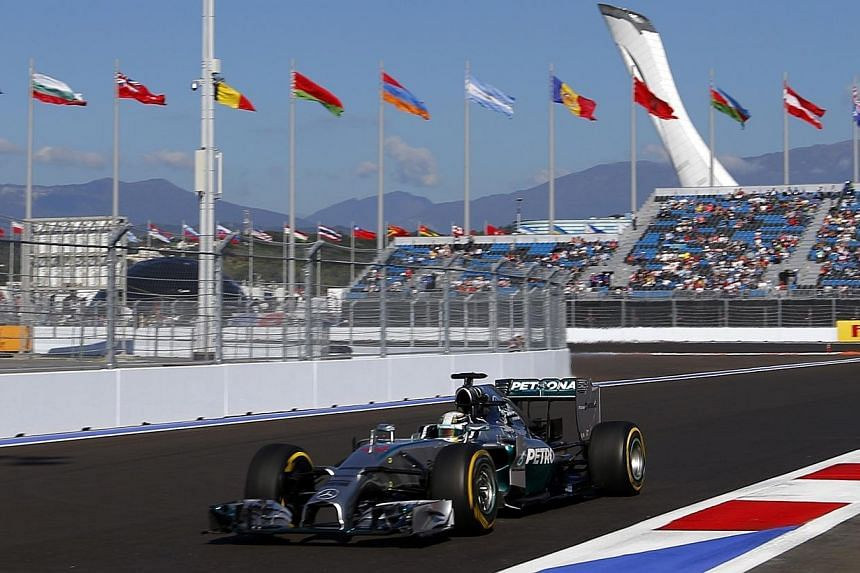 Mercedes Formula One driver Lewis Hamilton of Britain drives his car during the second free practice session of the Russian F1 Grand Prix in the Sochi Autodrom circuit on Oct 10, 2014.Formula One championship leader Lewis Hamilton bounced back