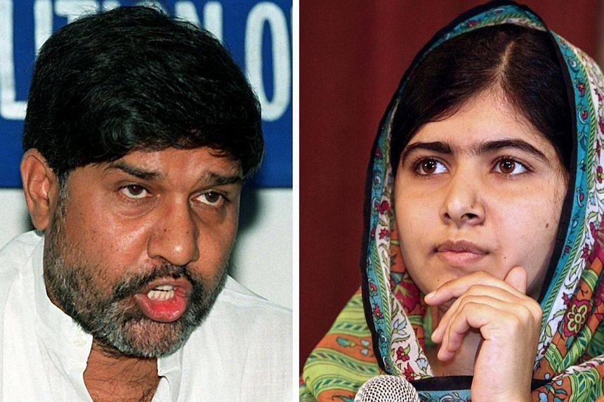 This combo of two file photos shows Kailash Satyarthi (left), Indian anti-child labour activist and head of the South Asian Coalition Against Child Servitude, addressing a press conference in New Delhi on June 18, 1999, and Pakistani education activi