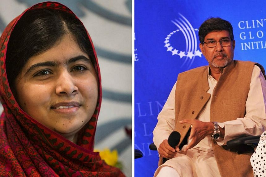 Pakistani teenager Malala Yousafzai, who was shot in the head by the Taleban in 2012 for advocating girls' right to education, and Indian children's right activist Kailash Satyarthi won the 2014 Nobel Peace Prize on Friday. -- PHOTOS:AFP/GETTY IMAGES
