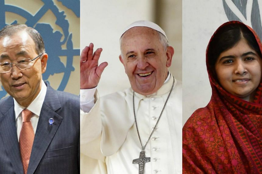 United Nations secretary-general Ban Ki Moon, Pope Francis and Malala Yousafzai are just three of the 278 nominations for this year's Nobel Peace Prize. -- PHOTO: AFP