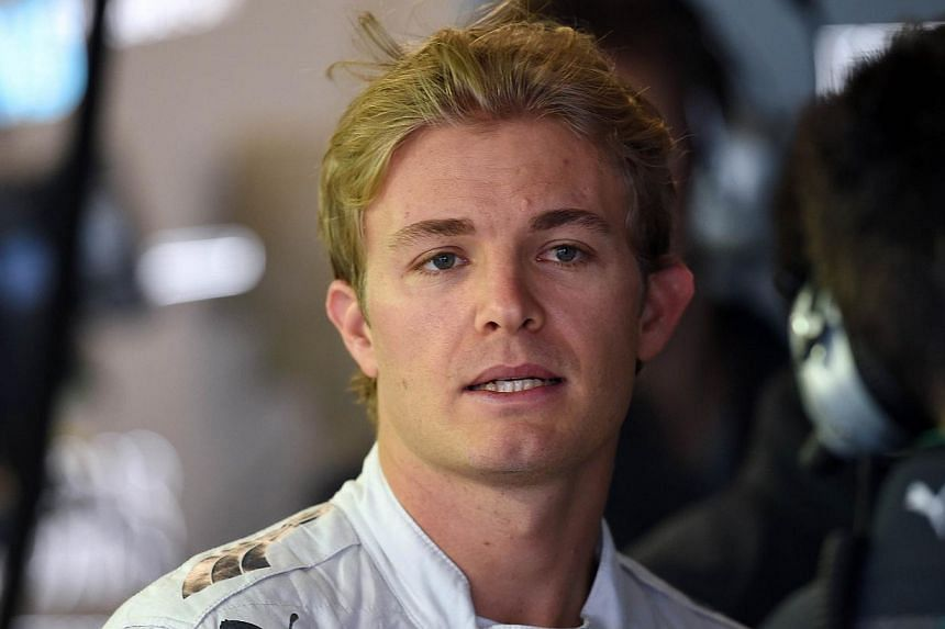 Mercedes-AMG's German driver Nico Rosberg waits in the pit area during the first practice session of the inaugural Russian Formula One Grand Prix at the F1 Autodrome in Sochi on Oct 10, 2014. -- PHOTO: AFP