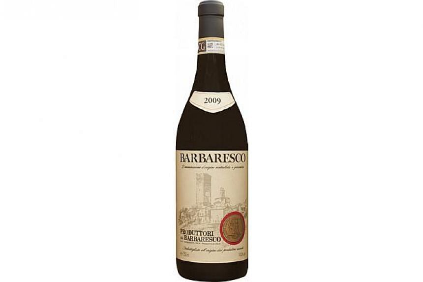 A bottle of Produttori del Barbaresco DOCG 2009,one of the three premium Italian wines that have made it to the top 10 list of The Business Times Wine Challenge 2014 - CEOs' Choice.-- PHOTO: KAL WINE SOURCE ASIA PTE LTD