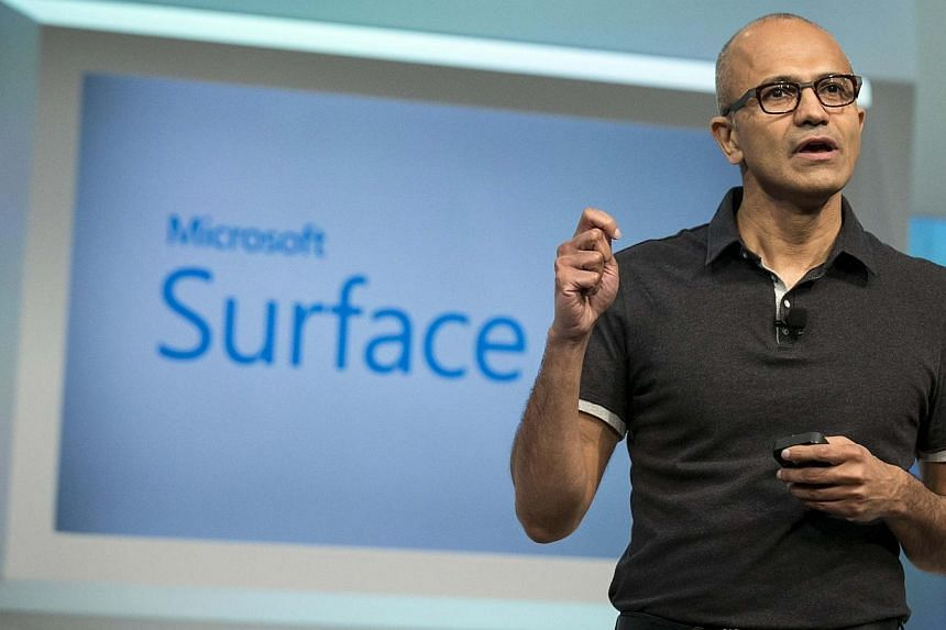 This file photo shows Mr Satya Nadella, Microsoft Corp chief executive, at the launch of Microsoft Surface Pro 3 in New York in May. Nadella has come under fire regarding his recent comments on pay equity. -- PHOTO: REUTERS