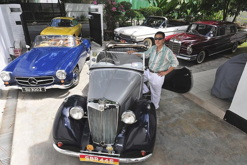 Mr Chia Quee Khee's 1949 MG Y-T was the wedding car when he got married in 1976. -- PHOTO: DIOS VINCOY JR FOR THE STRAITS TIMES