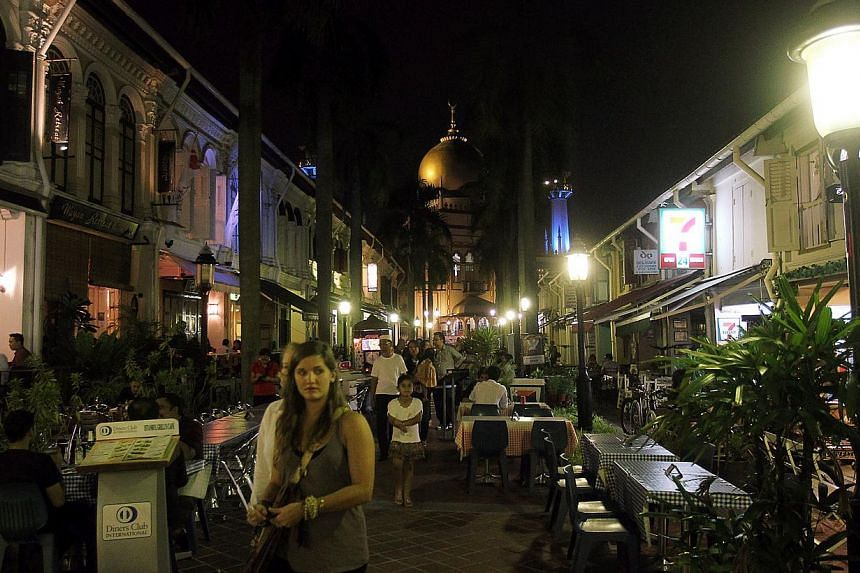 Rows of eateries and other outlets located at Muscat Street in Kampong Glam. -- PHOTO: ST FILE