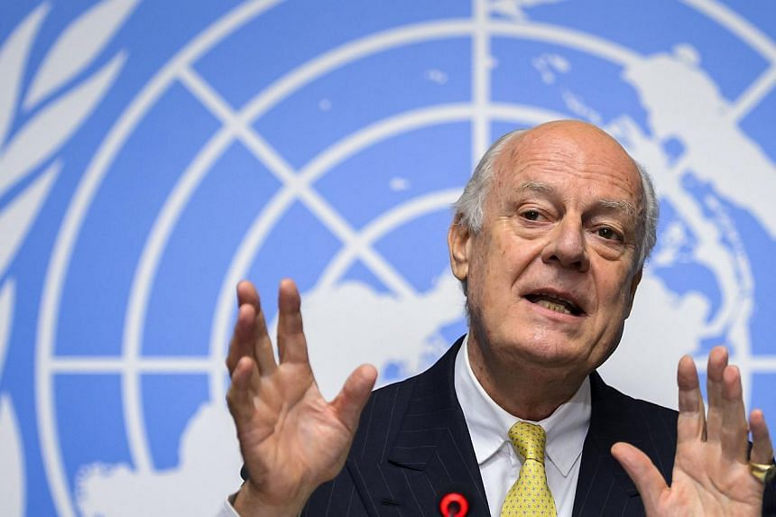United Nations special envoy for Syria Staffan de Mistura speaks during a press conference at UN office in Geneva on Oct 10, 2014. -- PHOTO: AFP