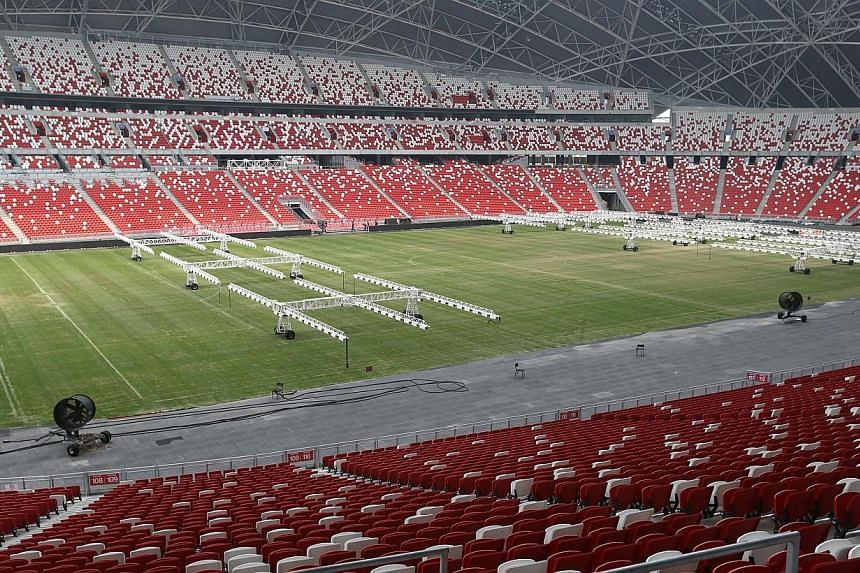 The new National Stadium will have its first sell-out crowd when five-time football world champions Brazil take on Japan in their friendly match on Tuesday. -- ST PHOTO:SEAH KWANG PENG