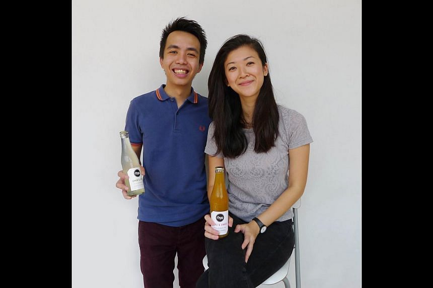 Citizen Pop's Mr Edwin Lim and Ms Imelda Mo (both above) want to let people know that there can be healthy alternatives to regular soft drinks. -- PHOTO: CRATEFUL