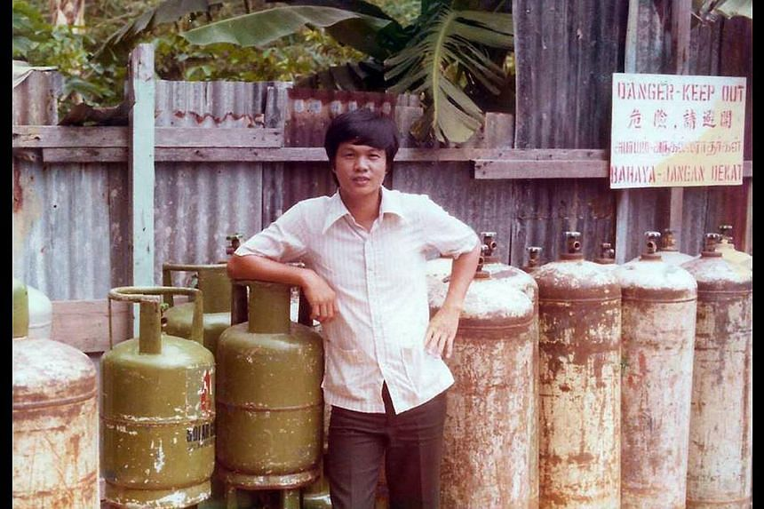 Mr Teo Kiang Ang (above) has a fleet of Trans-cab taxis, numbering nearly 5,000 today. (Below) In the 1980s, Mr Teo was busy building the cylinder LPG delivery business. He was the top distributor for Caltex Gas in Singapore for many years.The gas ma