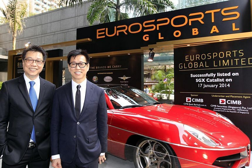EuroSports Global executive chairman and CEO Melvin Goh (left) and executive director and deputy CEO Andy Goh at the listing ceremony held outside SGX Centre in Shenton Way on Jan 17, 2014. -- ST PHOTO FILE
