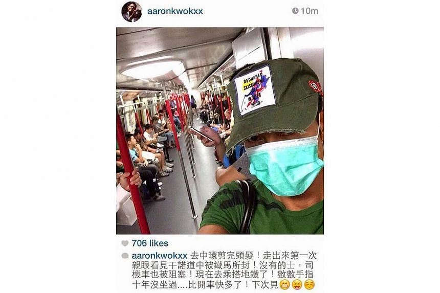 Aaron Kwok posted a selfie on the train after his driver got stuck in traffic. -- PHOTO: AARON KWOK'S INSTAGRAM