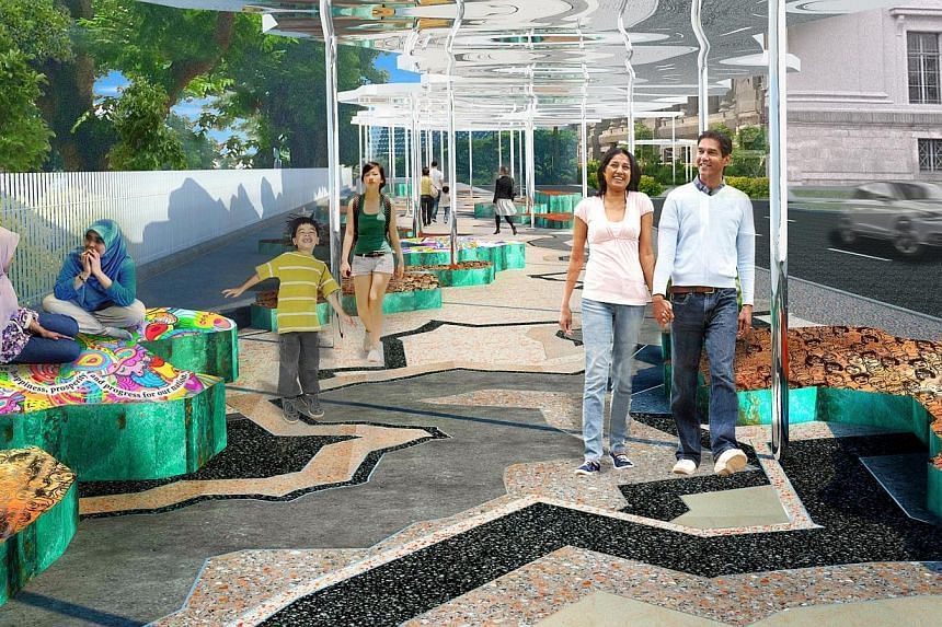"""An artist's impression of the Art Connector along Coleman Street. The permanent 300m walkway will link City Hall MRT station to the National Gallery Singapore, which officially opens next year. The walkway design will feature the """"diversity of people"""