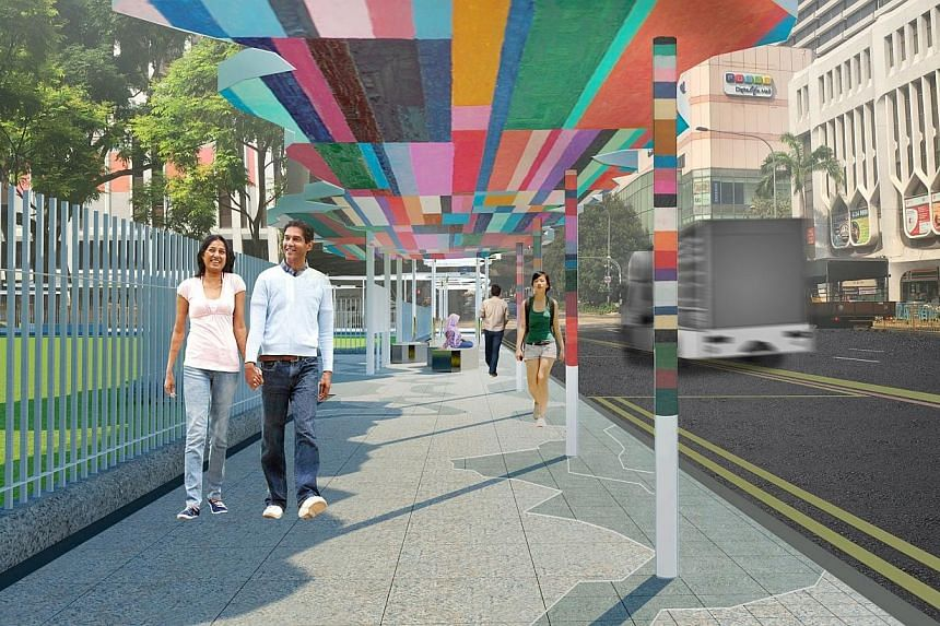"""An artist's impression of the Art Connector along North Bridge Road. The permanent 300m walkway will link City Hall MRT station to the National Gallery Singapore, which officially opens next year. The walkway design will feature the """"diversity of peo"""