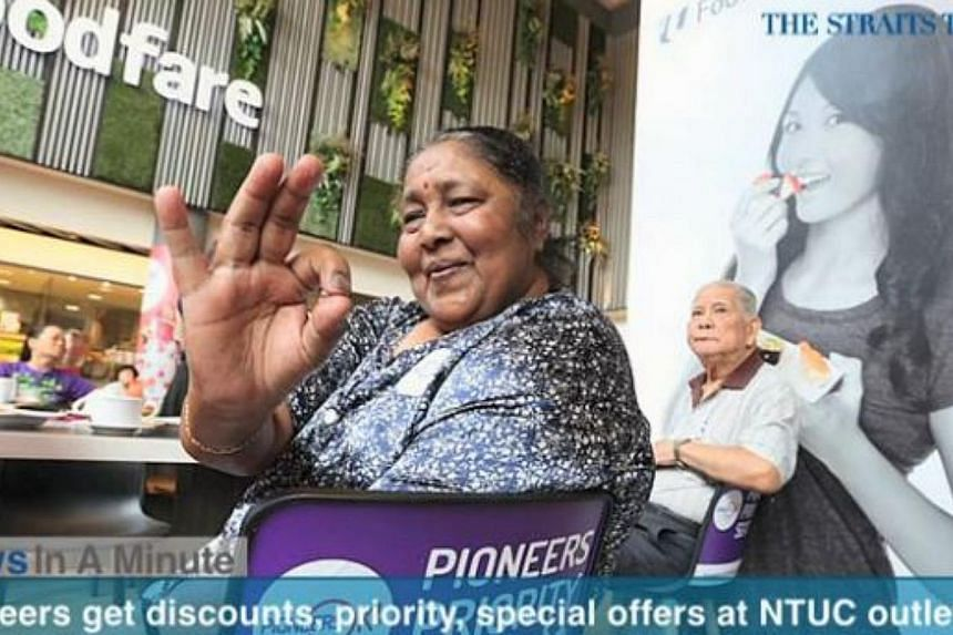 In today's News In A Minute, we look at how pioneer generation Singaporeans will get discounts and other benefits at NTUC supermarkets, pharmacies, food courts and other NTUC-linked outlets from now until the end of next year. -- PHOTO: SCREENGRAB FR